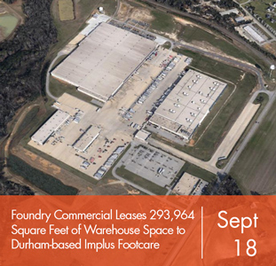 Foundry Commercial Leases 293,964 Square Feet of Warehouse Space to Durham-based Implus Footcare