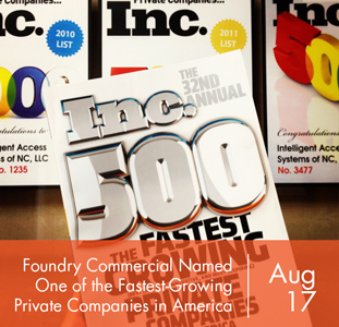 Foundry Commercial Named One of the Fastest-Growing Private Companies in America by Inc. Magazine